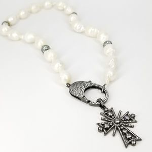NEW Baroque Freshwater Pearls Pave CZ Cross